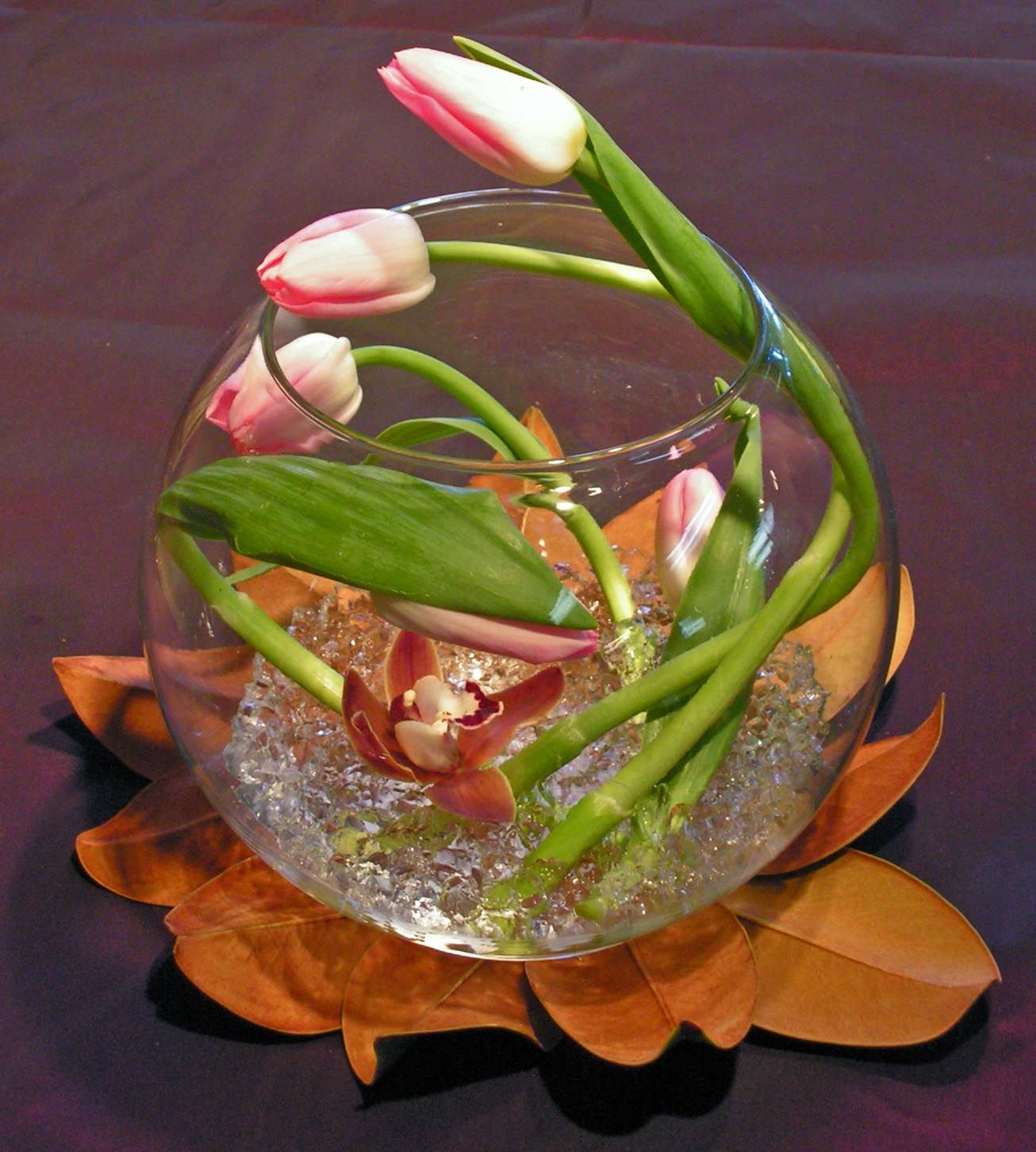 Do something different! - Tulips in a bubble bowl with magnolia leaves underneath the vase