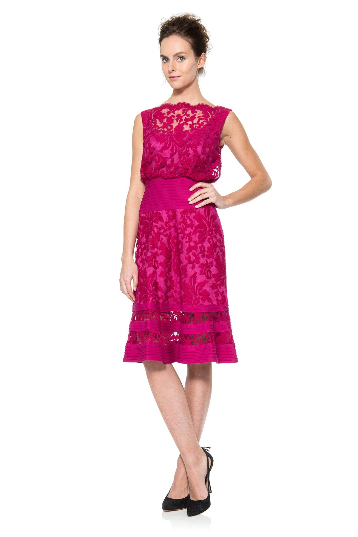 Embroidered Lace Blouson Waist Dress | Tadashi Shoji | Lovely ...