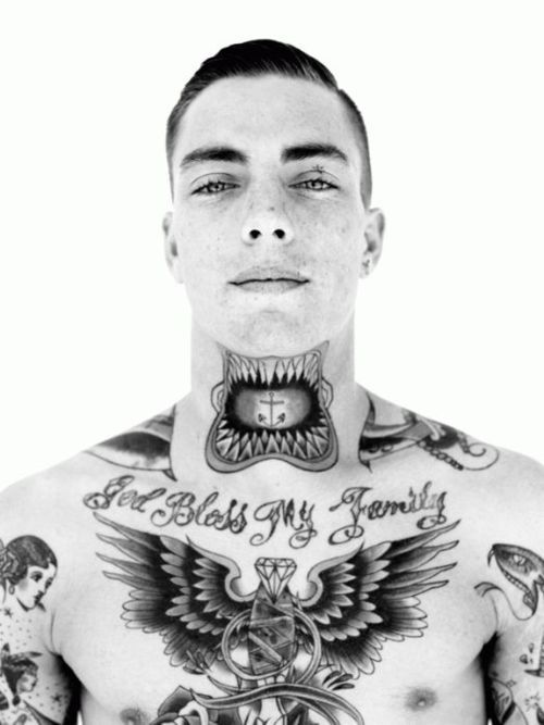 Not Crazy About The Front Of The Neck Tattoos Because They Make Me Cringe But This Guy S Super Cute Neck Tattoo For Guys Tattoos For Guys Tattoos