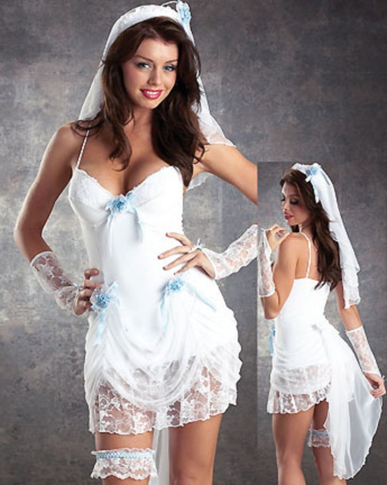 Sexy white lace bride wedding costume fancy dress outfit 8 for Sexy wedding dress costume