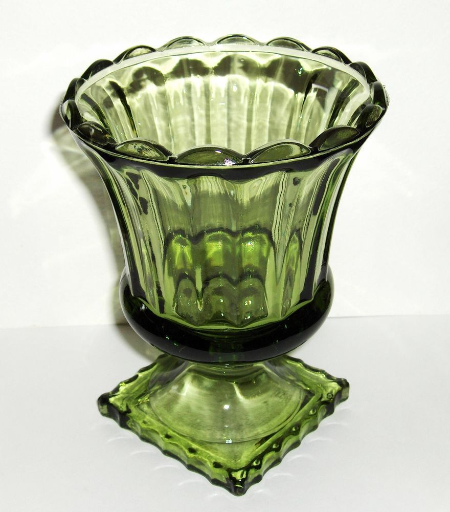 Vtg pressed glass avocado green footed pedestal compote candy dish vintage pressed green glass in pressed glass glassware reviewsmspy