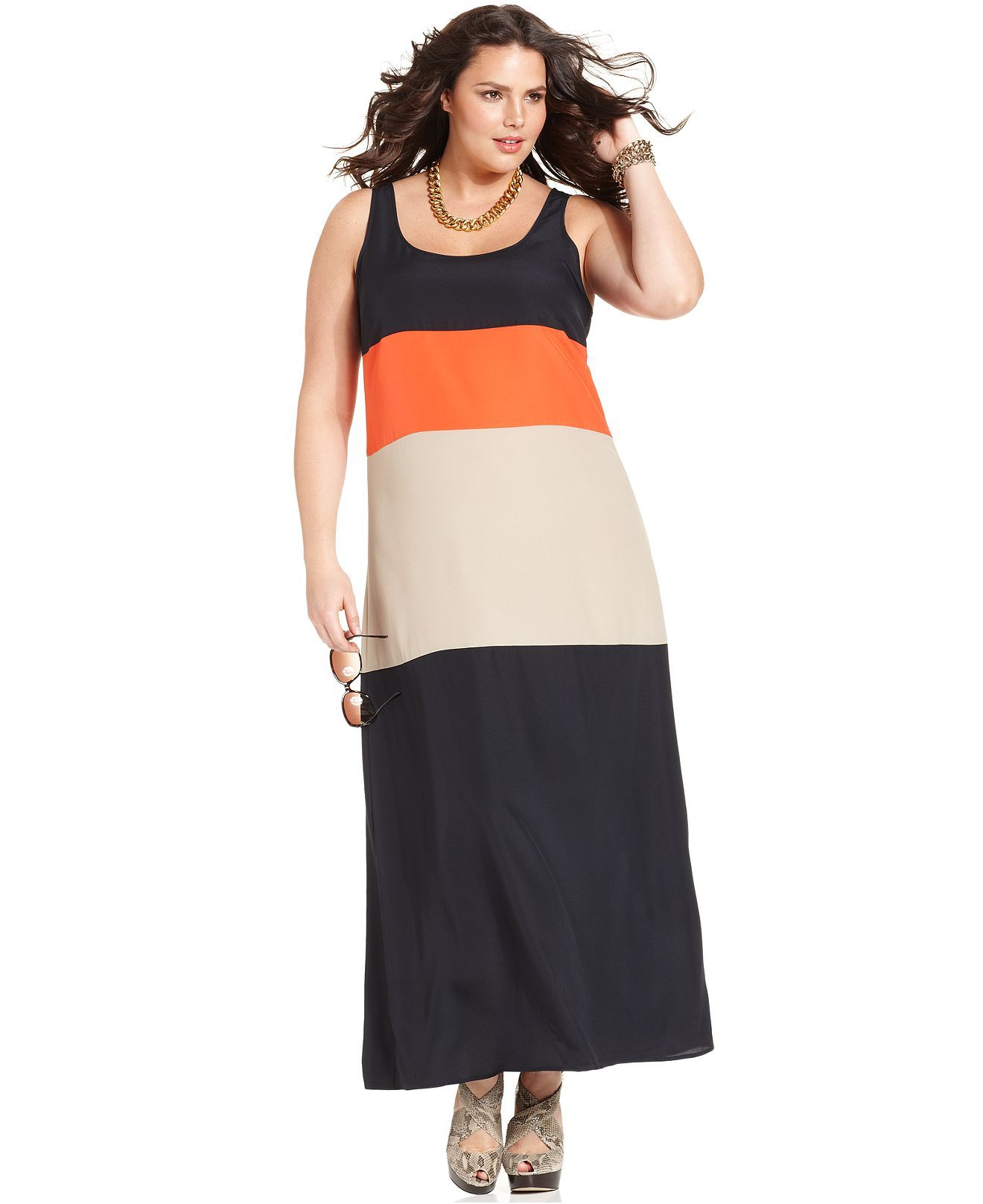 MICHAEL Michael Kors Plus Size Dress, Sleeveless Colorblock ...