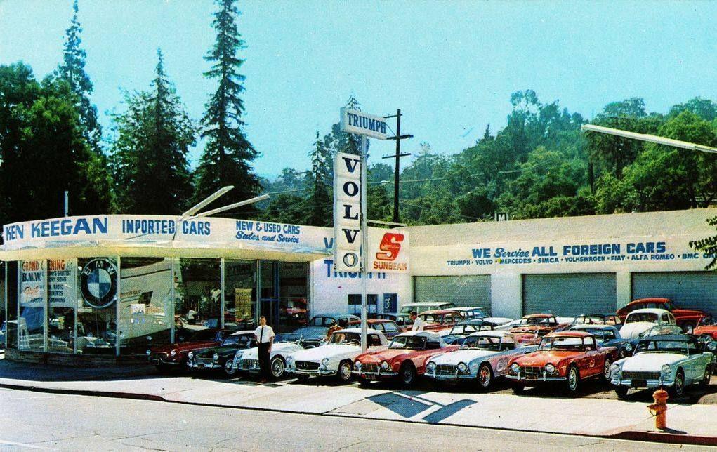 Volvo/Triumph/Sunbeam/BMW dealership late 1960s Los