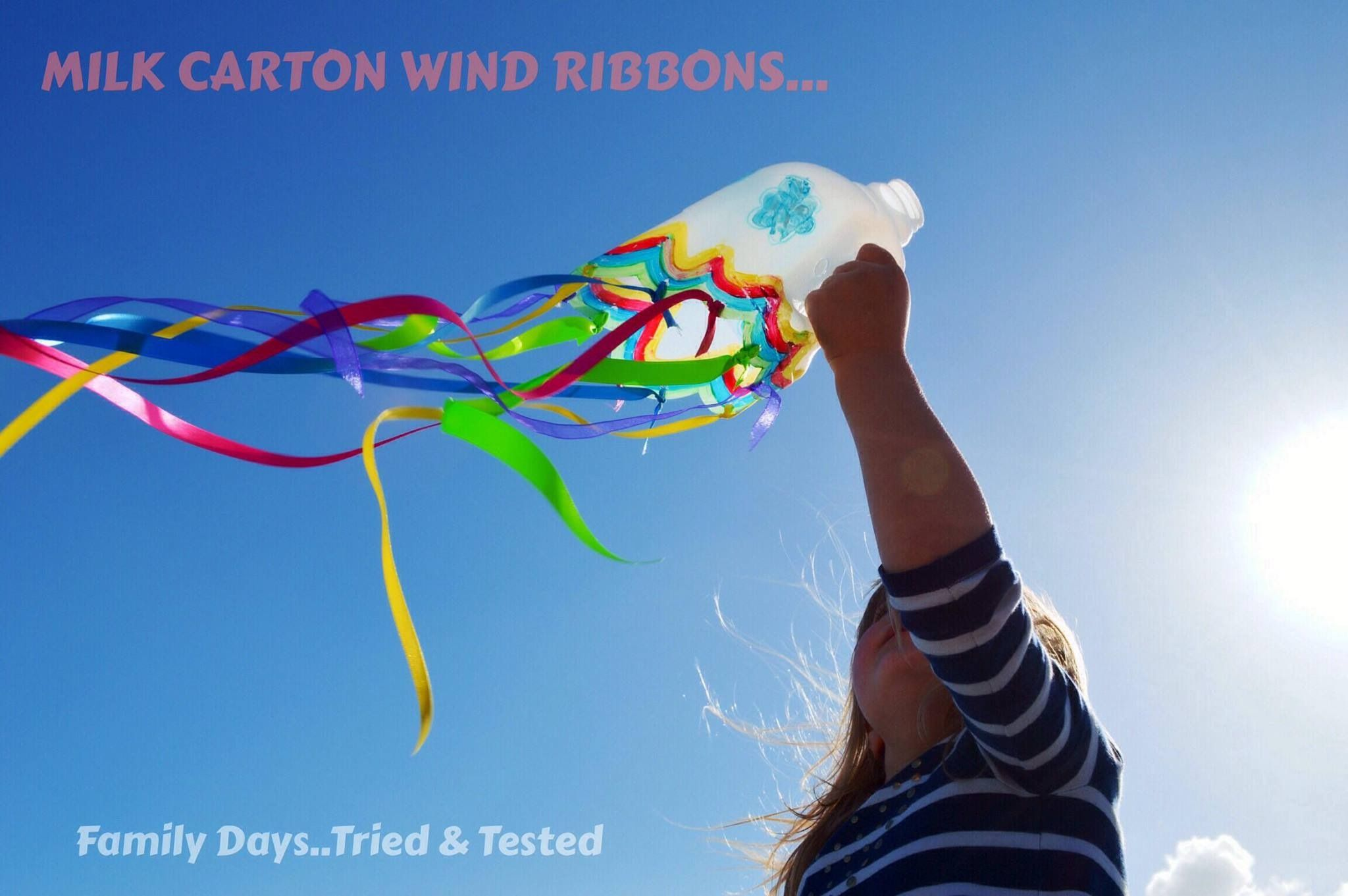 Make beautiful milk carton wind ribbons.