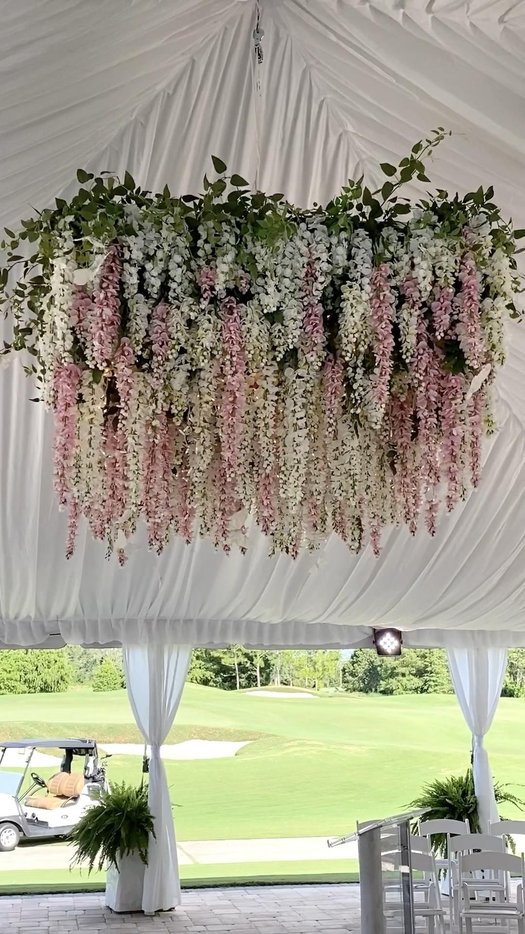Pink and white wisteria floral chandelier outdoor