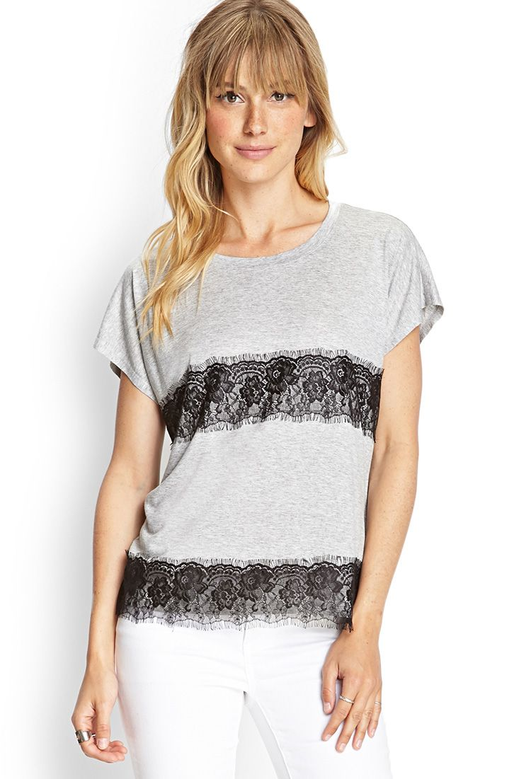 Lace-Paneled Jersey Tee | FOREVER21 #F21Contemporary