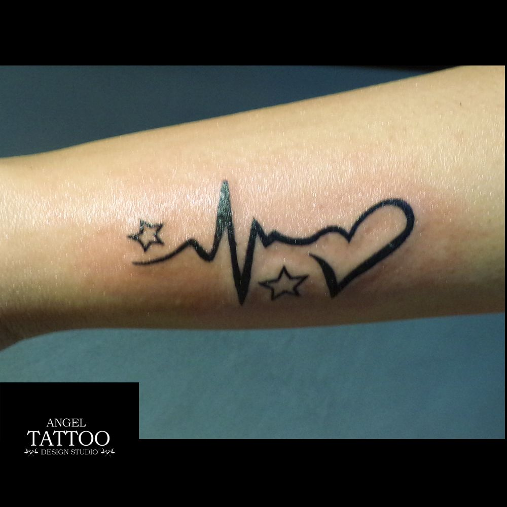 3ecbf847fe174 small tattoo for girls, star tattoo, heart tattoo, heart beat tattoo ...