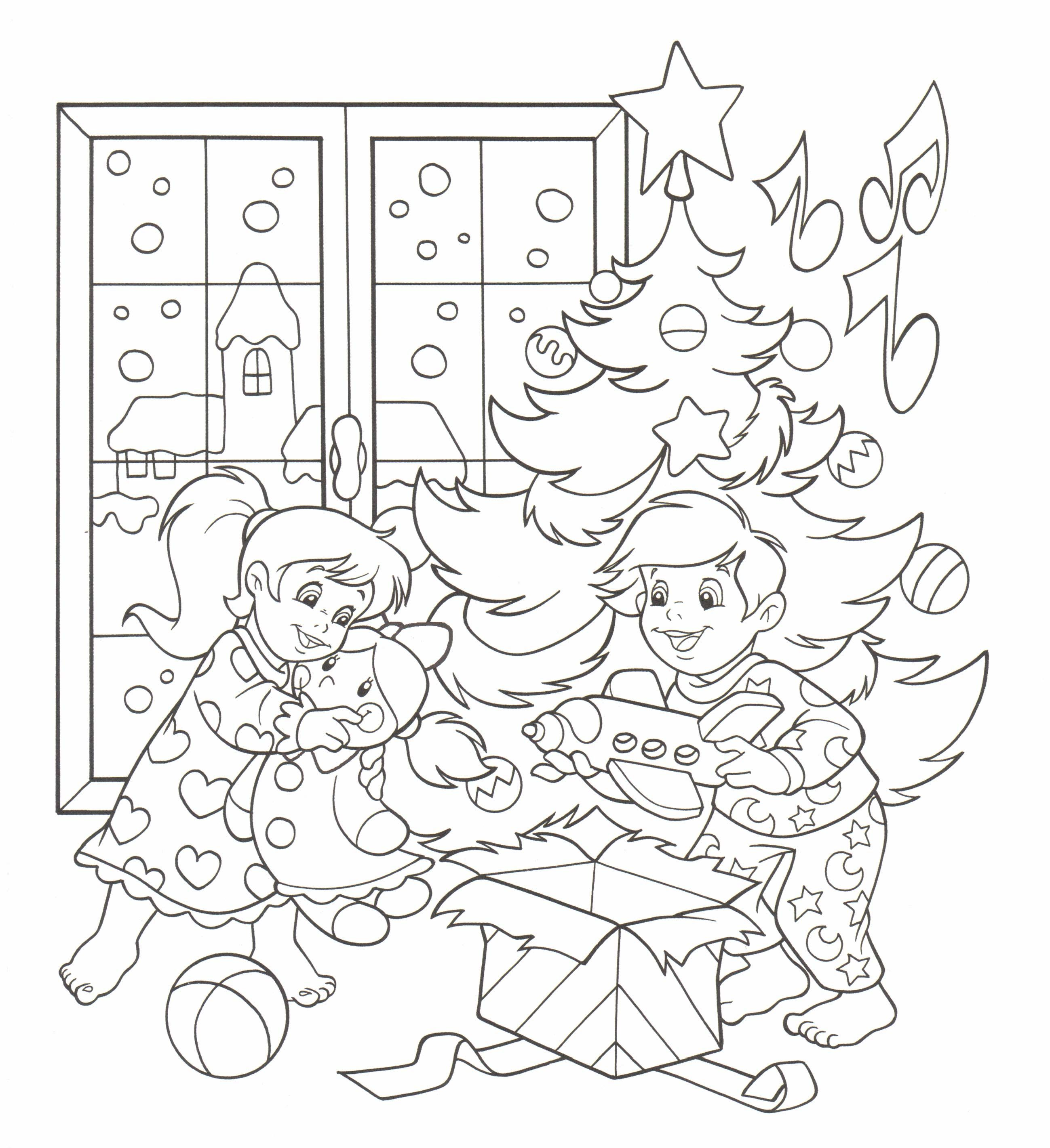 Planse De Colorat Pentru Craciun Copiii Gasesc Cadourile In
