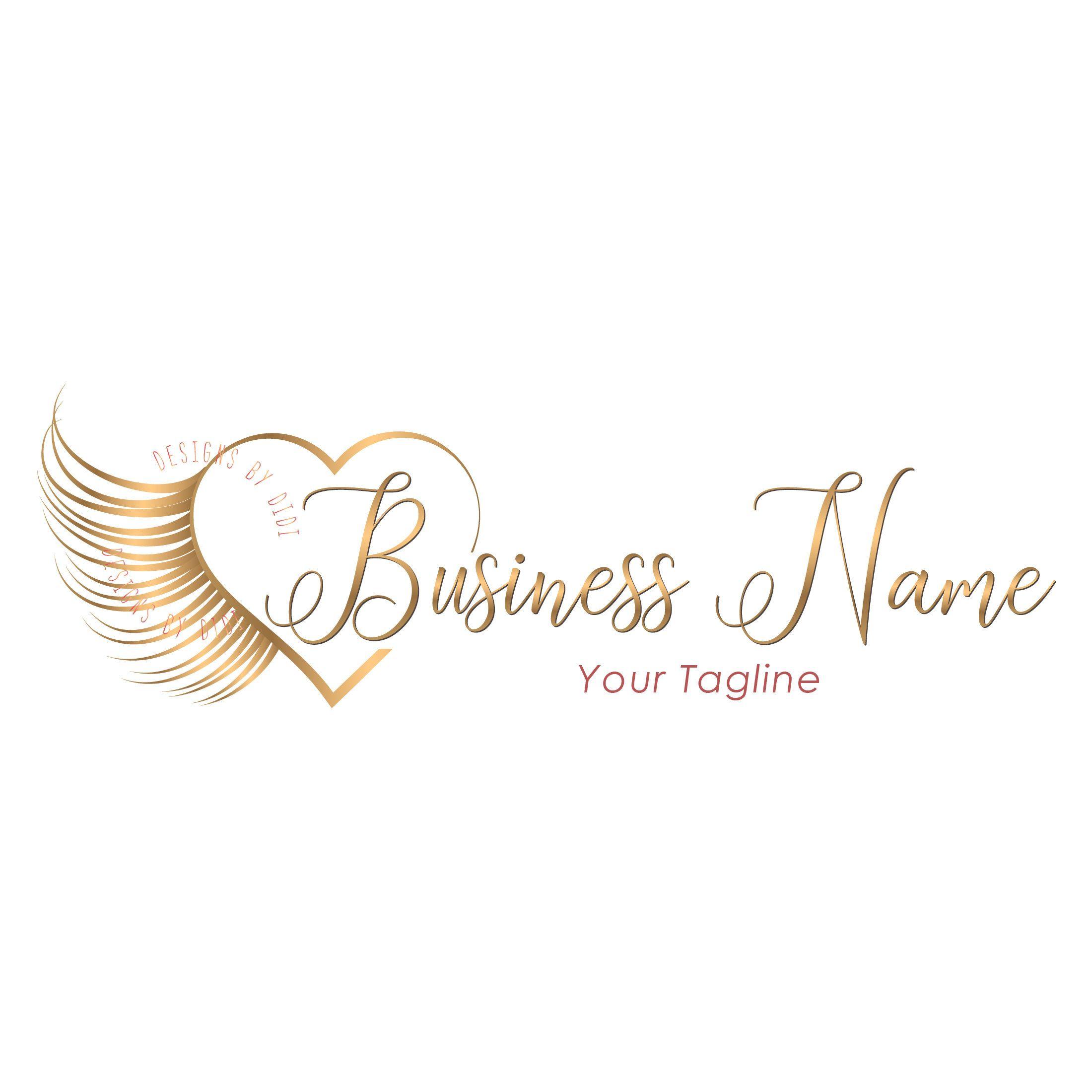Custom logo, gold heart lashes logo, eyelash heart logo