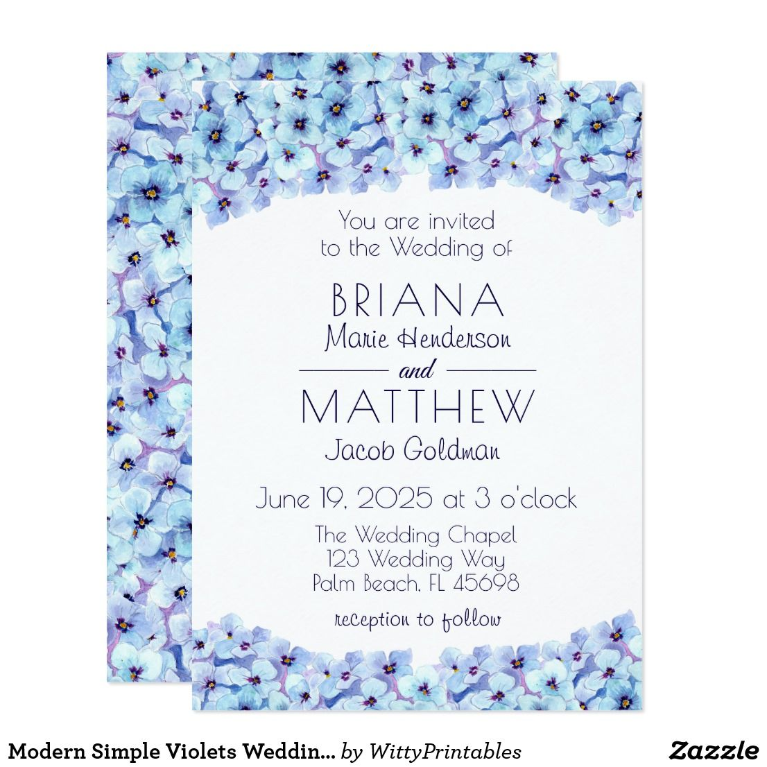 Modern Simple Violets Wedding Invitation | all things wedding ...
