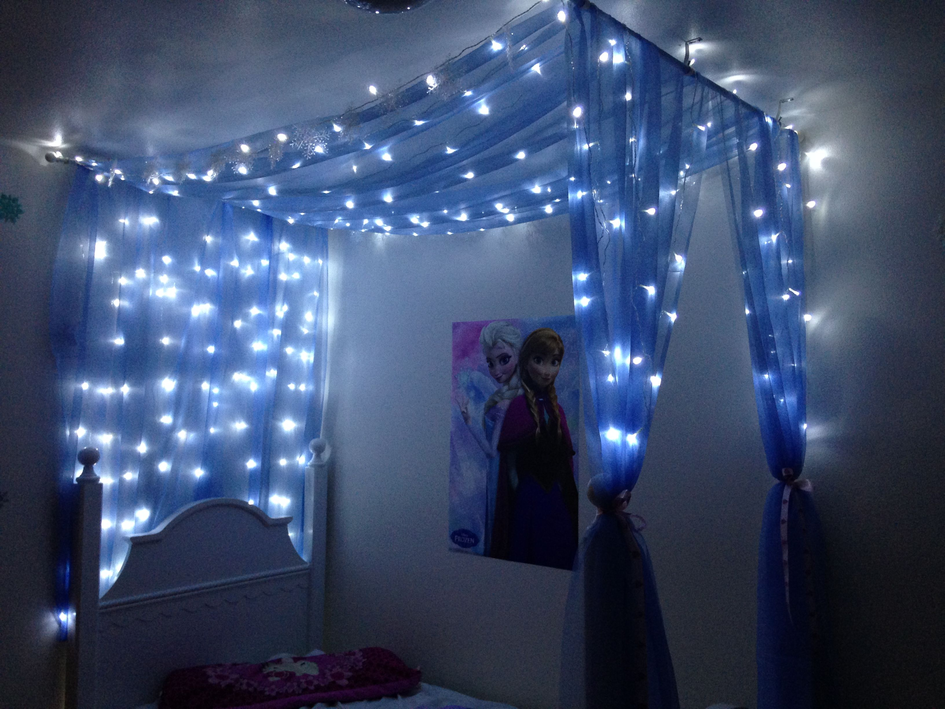 Diy Canopy For Frozen Themed Room 2 Window Scarves And A 3m 3m Led Light Window Curtain From Amazon Held Up Frozen Themed Bedroom Frozen Bedroom Frozen Room