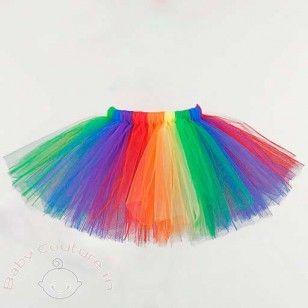 Rainbow Tulle Tutu with Black Elastic Waist Band