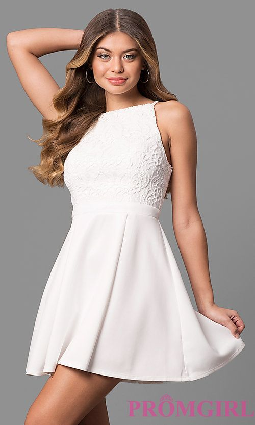5fad233f1c3 Short White Lace-Bodice Graduation Dress with Pleats in 2019 ...