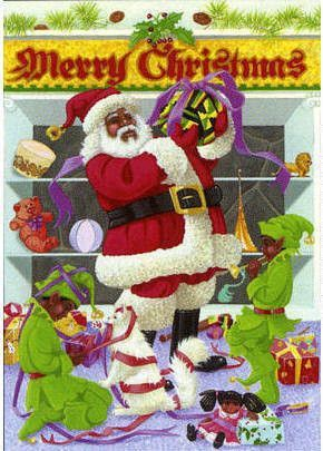 Merry Christmas Black Santa Claus - Afrocentric Christmas Cards by ...