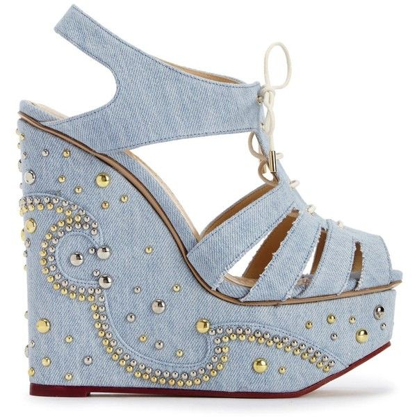 Charlotte Olympia Gene Studded Denim Wedge Sandals (£190) ❤ liked on Polyvore featuring shoes, sandals, wedges, wedges shoes, lace up shoes, denim shoes, platform shoes and platform wedge sandals