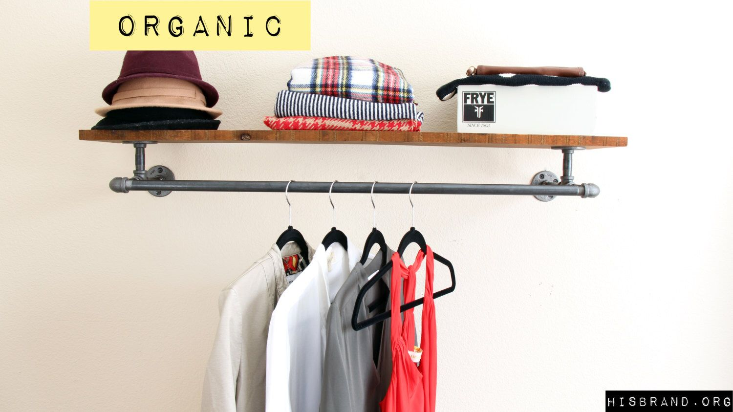 Industrial pipe clothing rack with shelf industrial hanger
