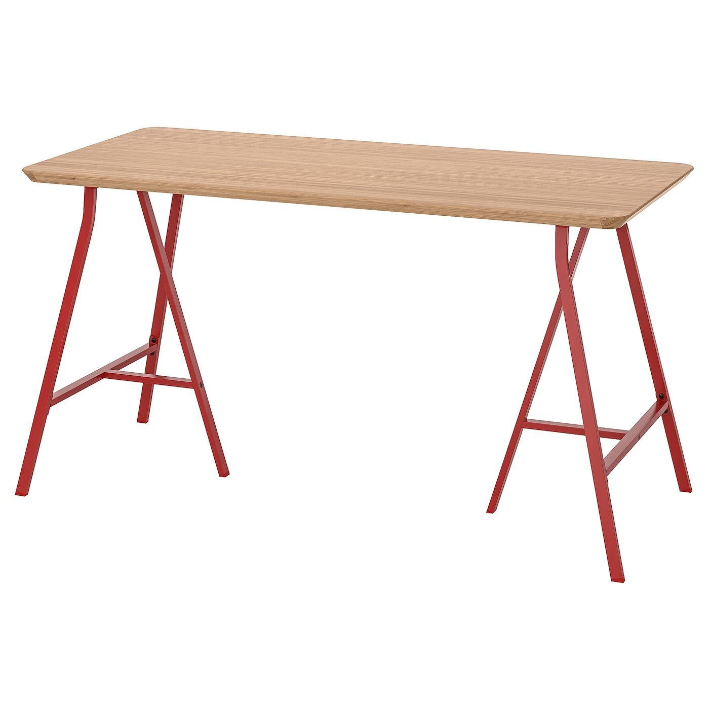 Hilver Lerberg Tisch Bambus Rot In 2020 Tisch Bambus Und Ikea Tisch