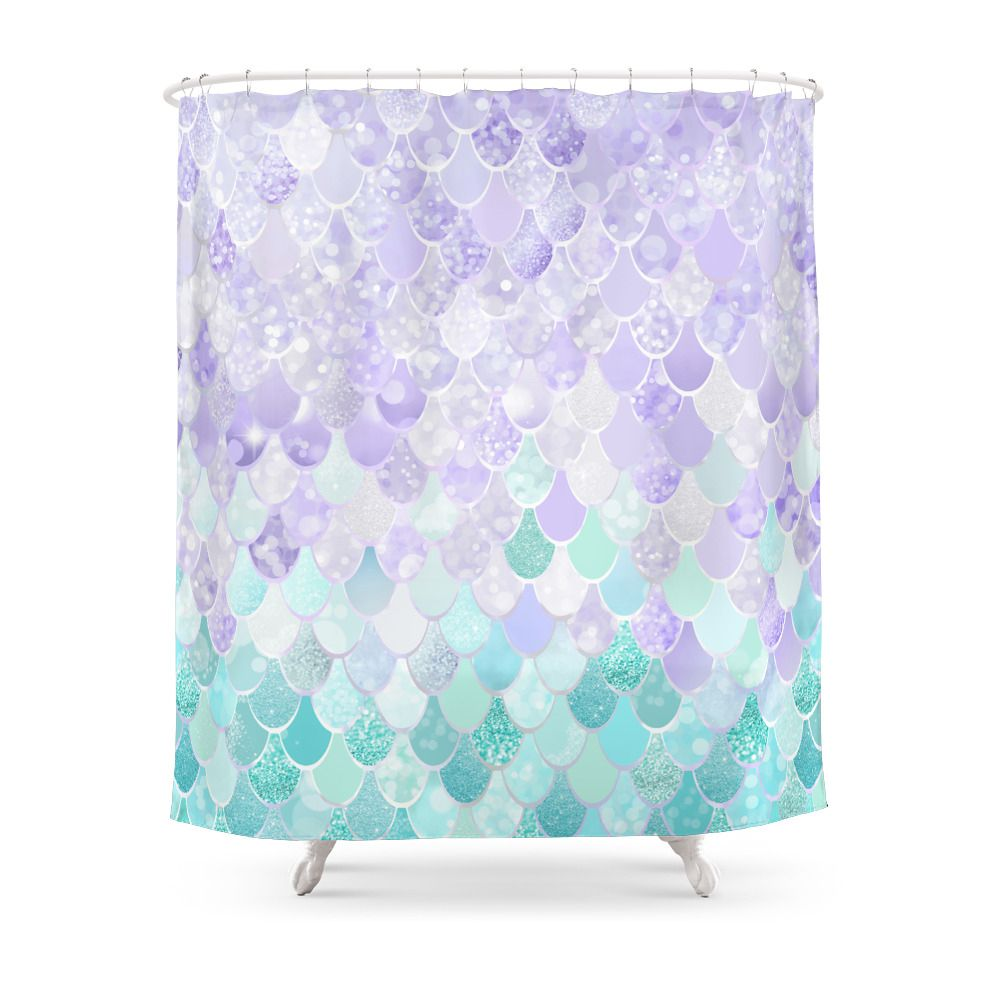 Mermaid Iridescent Purple And Teal Pattern Shower Curtain By Meganmorrisart Cool Shower Curtains Patterned Shower Curtain Kids Shower Curtain