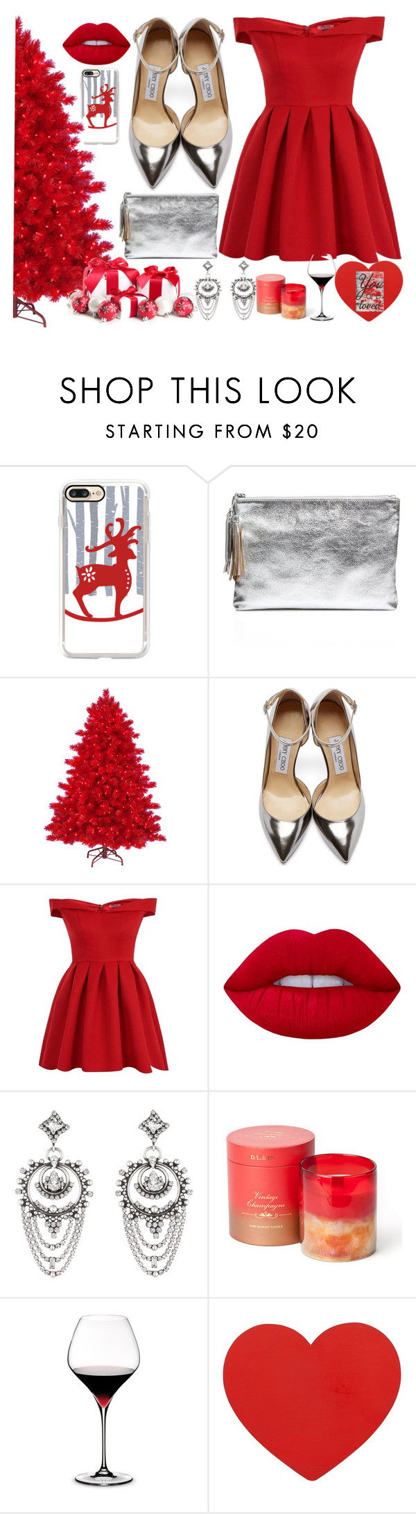 """Red in December"" by kat-van-d ❤ liked on Polyvore featuring Casetify, Loeffler Randall, Jimmy Choo, Chi Chi, Lime Crime, DANNIJO, D.L. & Co., Riedel, Pier 1 Imports and contest"
