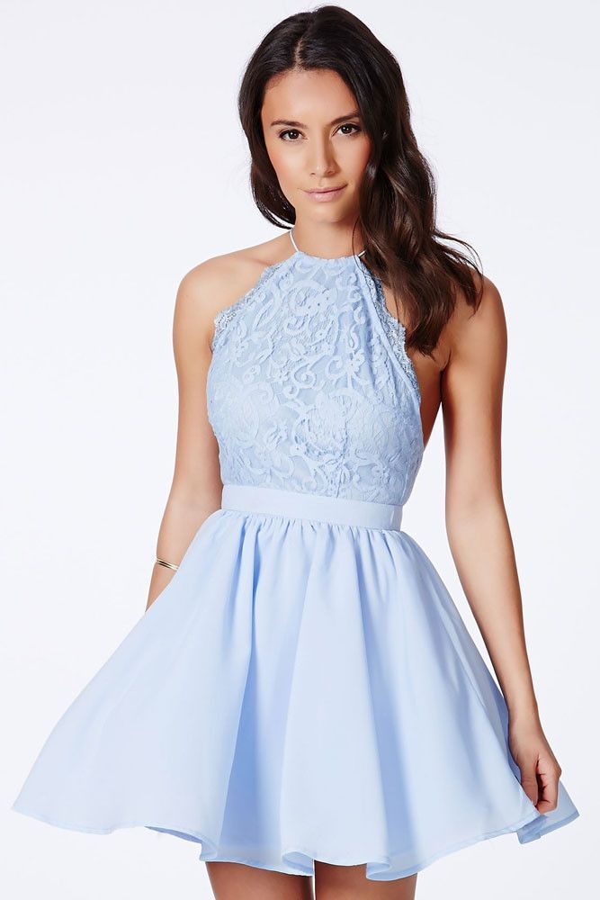 Chic Cross Back Lace Backless Design Party Baby Blue Dress ...