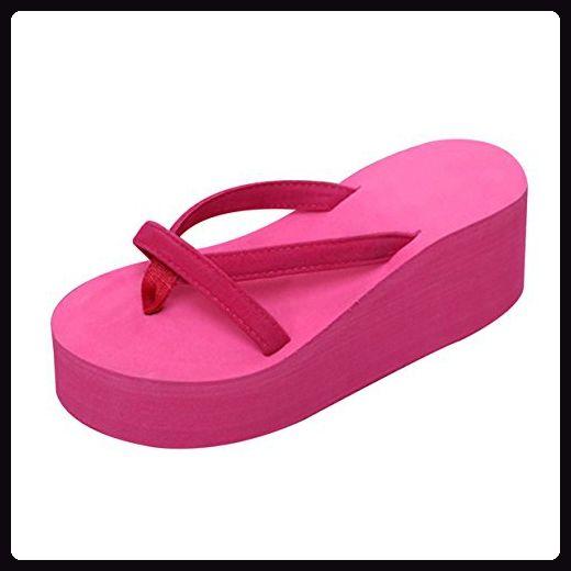 Lalang Damen Plattform Keilabsatz Zehenriemen Sommer Urlaub Flip Flops Sandalen (37 EU, Rose Red)