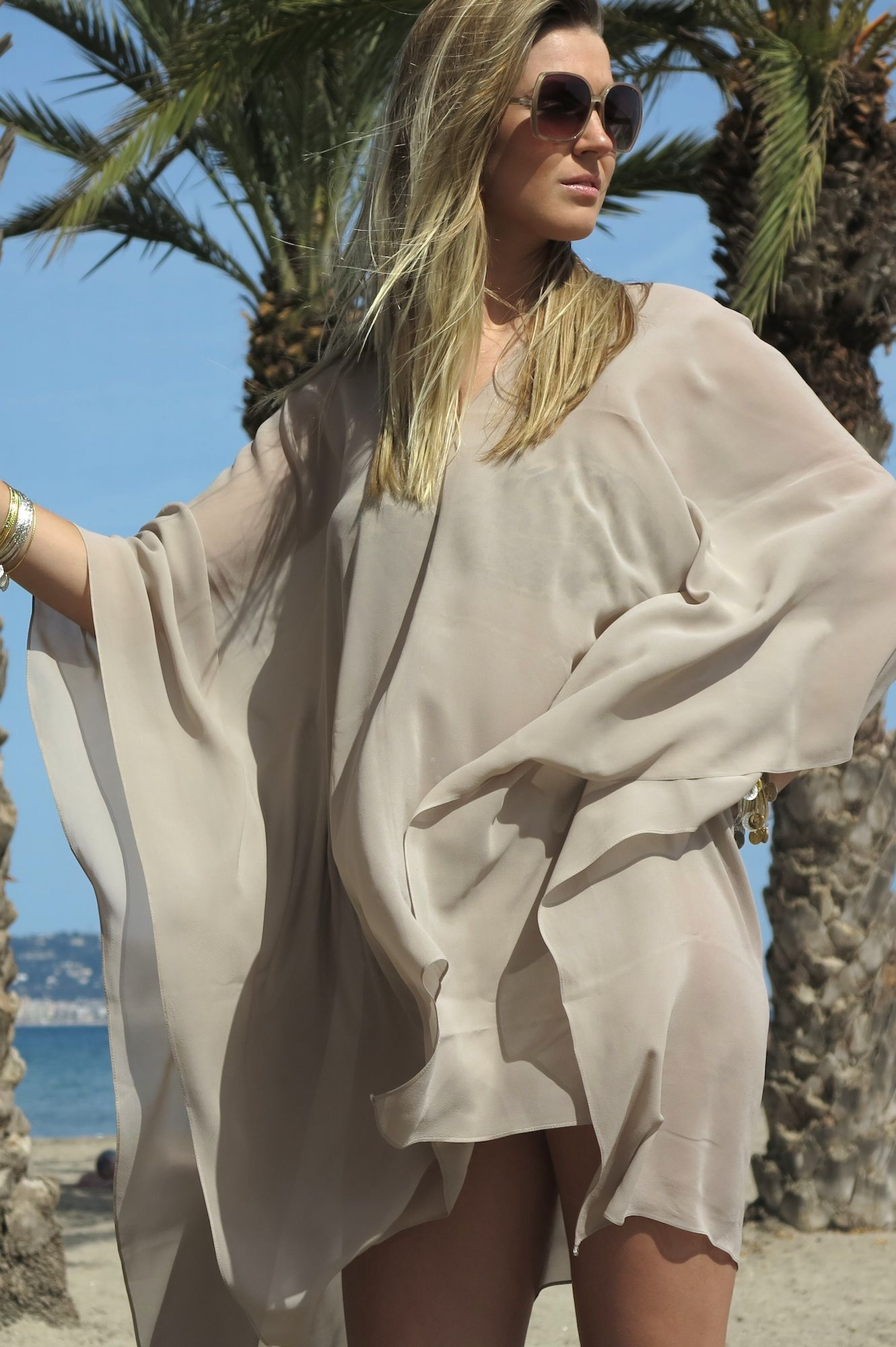 63f63bcfd1 Beach cover up Online Luxury Beachwear and Cover Ups | Beige Plain 'Tahiti' Cover  Up