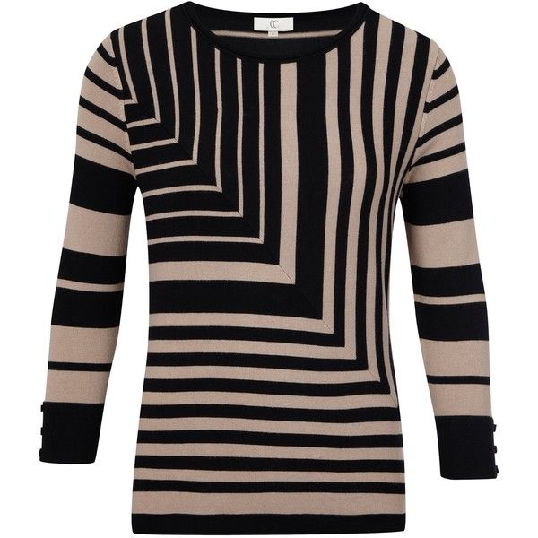 CC Diagonal Striped Jumper, Black/Sand found on Polyvore