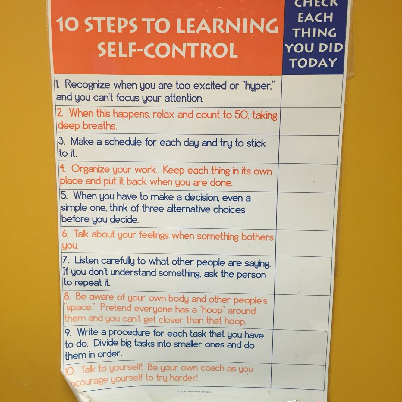 10 Steps To Learning Self Control