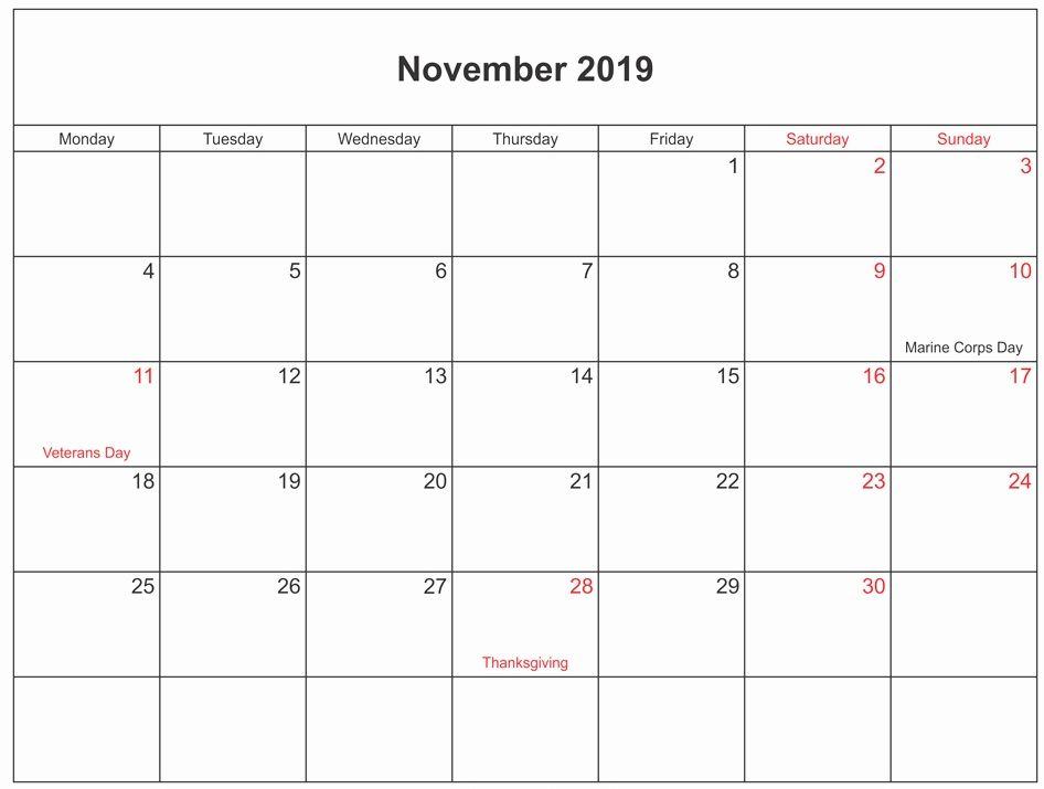 November 2019 Calendar With Holidays USA, UK, Canada, India