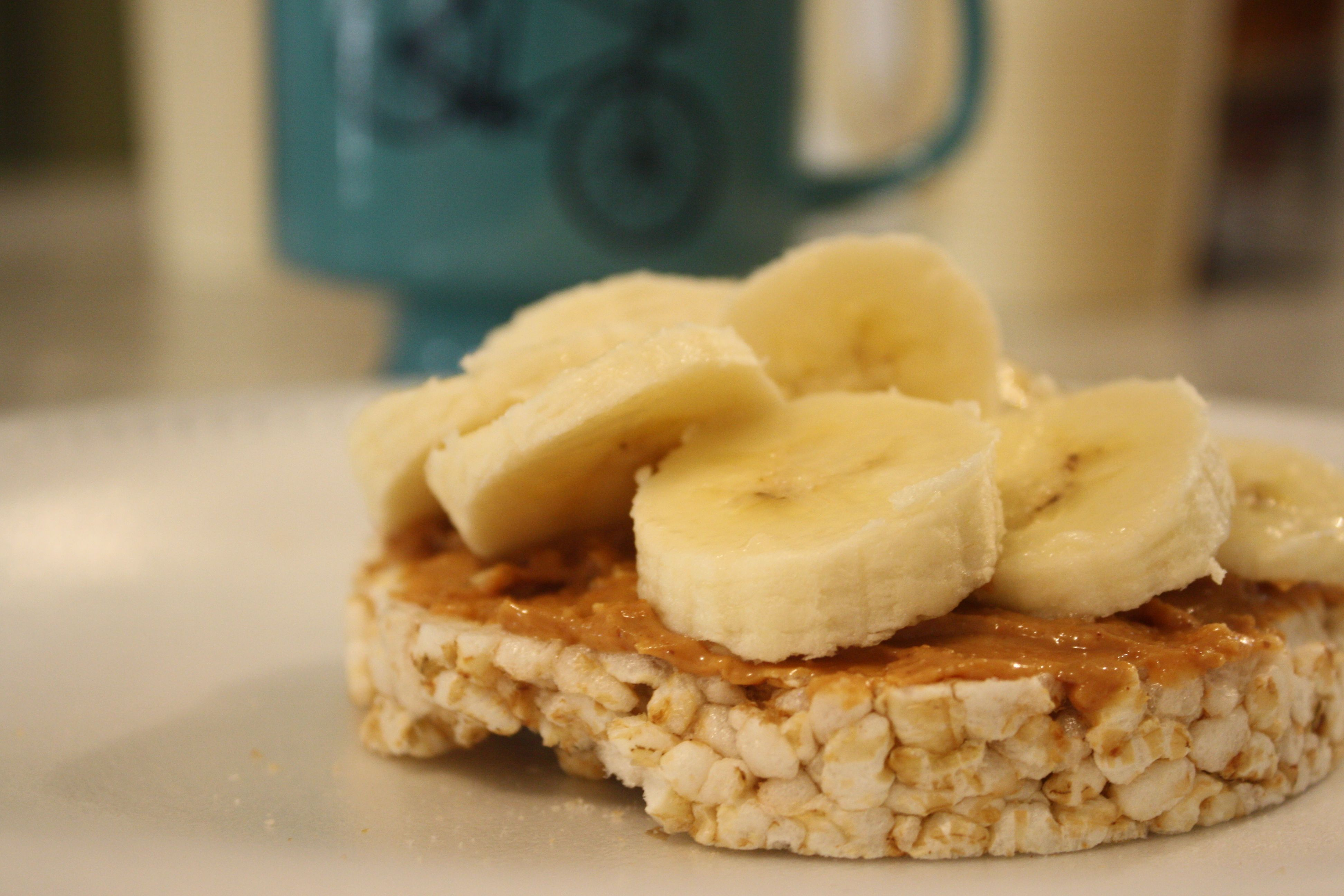 Healthy snack whole grain rice cake with peanut butter