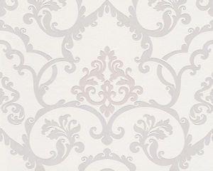 Off white cream flock effect damask wallpaper with beige motif wallpaper damask wallpaper - Cream flock wallpaper ...