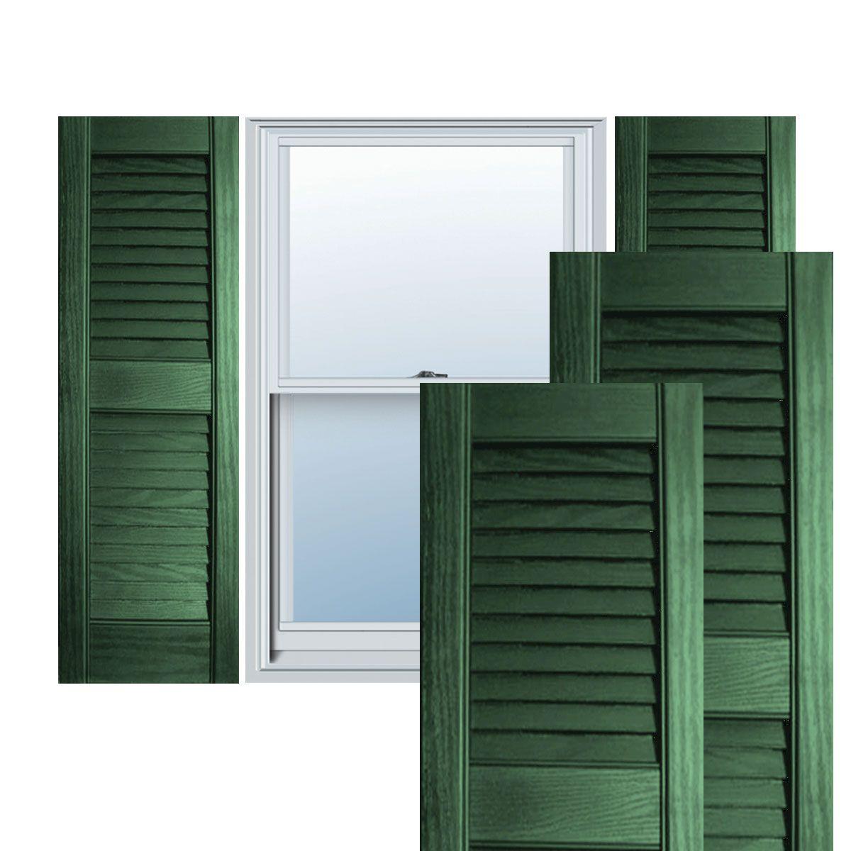 12 Inch X 28 Inch Builders Choice Vinyl Open Louver Window Shutters W Shutter Spikes Screws Per Pair Forest Green Louver Windows Shutters Exterior Exterior Vinyl Shutters