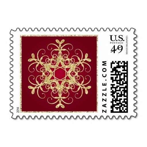 Red, Gold Glitter LOOK Snowflake Postage. This great stamp design is available for customization or ready to buy as is. Of course, it can be sent through standard U.S. Mail. Just click the image to make your own!