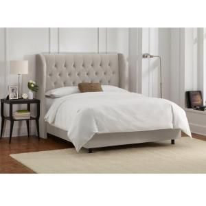 Best Preston Velvet Light Grey Queen Tufted Wingback Bed 400 x 300