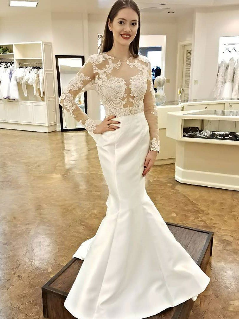 Long Sleeve Ivory Lace Wedding Dresses Mermaid Open Back