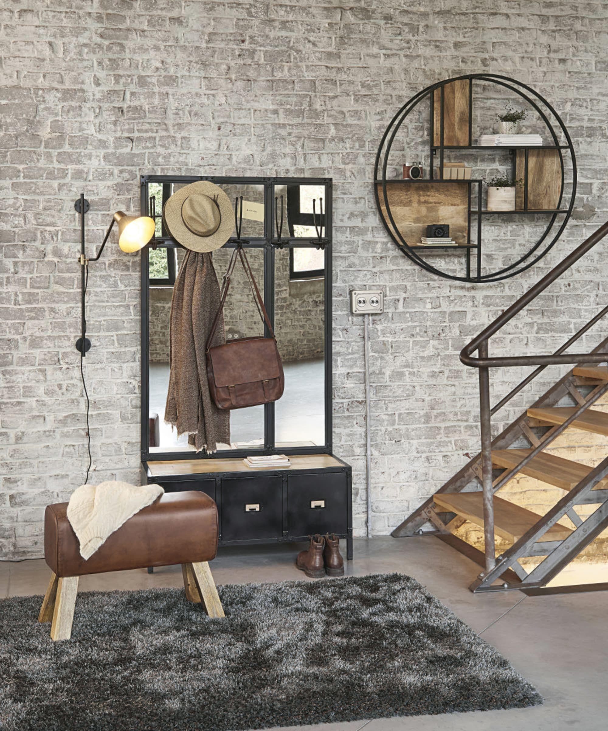 Scott Meuble D Entree Avec Miroir En Metal Noir H190 X L100 X P40 Cm 46 Kg Maisons Du Monde 499 En 2020 Applique Murale Noire Miroir En Metal Noir Mur Noir