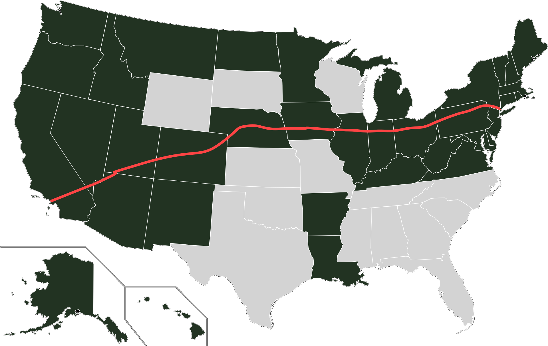 You Can Now Travel From West To East Coast Via States With