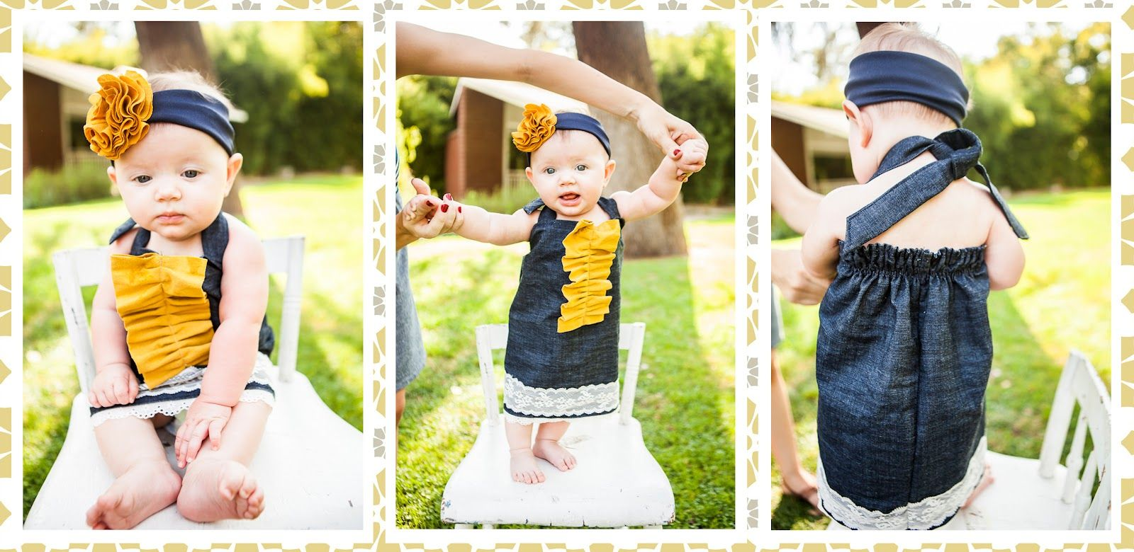 6m Denim With Mustard And Lace Halter Baby Girl Dress And