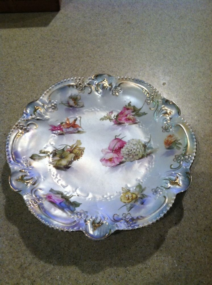 RS Prussia Floral Plate Red Mark Nice Antique Pearl Look Gold Accent