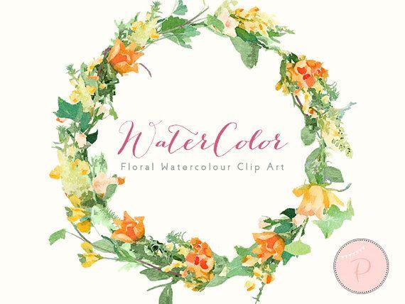 Orange Flower Floral Wreath Clip Art Watercolor Floral Cliparts