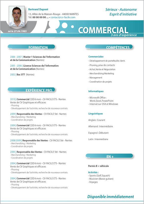 cv commercial terrain word gratuit