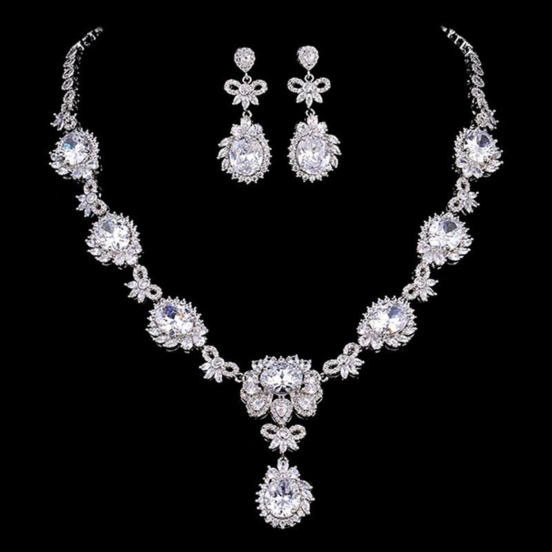 DOKOL New Arrival Bridal Jewelry Sets With AAA+ Zircon Stone Silver Color  Earrings Necklace Fashion Women 1cbbaa656b11