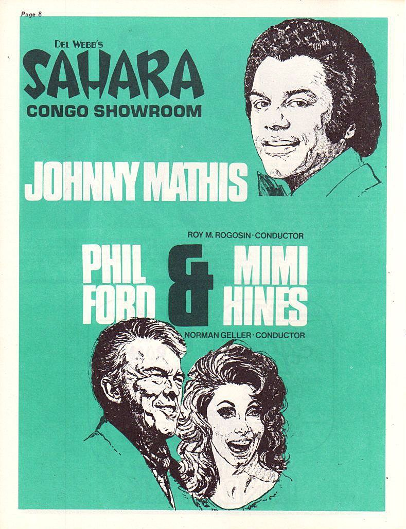 Johnny Mathis with Phil Ford & Mimi Hines at Del Webb s Sahara