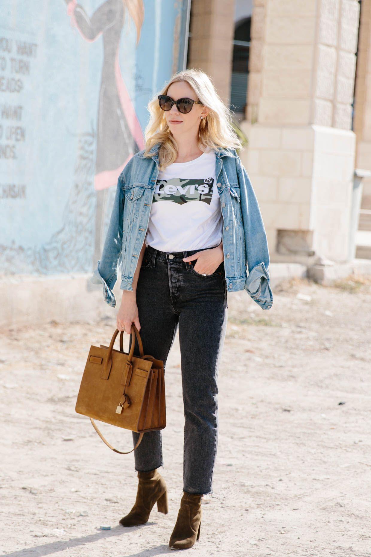 Levius love denim jacket with graphic tee u straight leg jeans
