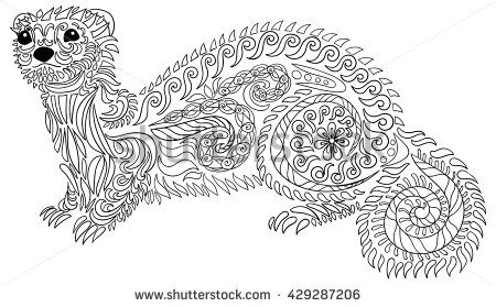 Adult coloring page for anti-stress art therapy. Hand drawn ferret ...