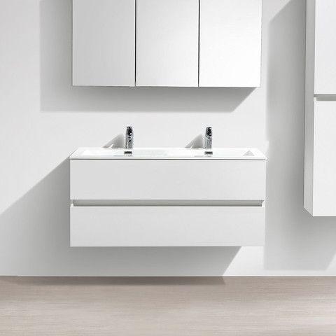 Meuble salle de bain design double vasque SIENA largeur 120 cm Blanc
