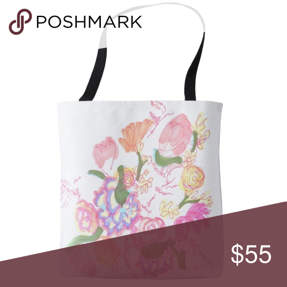 "Limited Edition Artist Designed Tote Limited Edition Artist Designed Tote, Large, base: 16""l x 16""w x 2.5""d, 100% polyester.          handles: 28""l x 1""w, 100% cotton.                           Professional artist sketch printed (back & front), pink/multicolor floral design w/signature on white background, black handles, amount available is very limited (not mass produced), BRAND NEW (Retail) Dévi Bags Totes"