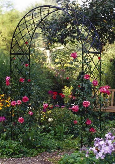 Metal garden arches and rose arches for Garden archway designs
