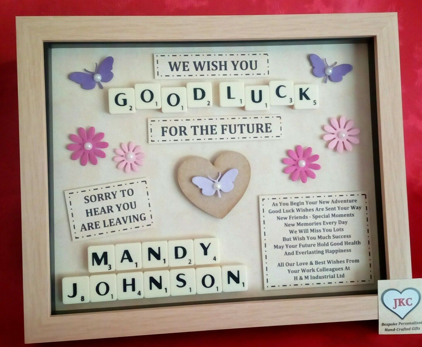 Details about LEAVING GIFT Personalised FRAME PICTURE Work