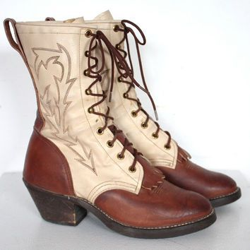 33cf04e29d2 Vintage 1970s Tan and Cream Leather Lace Up Roper Boots // Wrangler ...